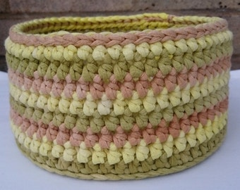 Cotton Basket - Storage Basket / Bowl - Chunky Crochet Green, Yellow, Brown Stripy Basket,Eco Storage