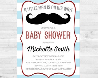 Baby Shower Invitation Boy, Mustache Baby Shower Invitation, Rustic Baby Shower, Blue, Red, Grey, Vintage, Little Man