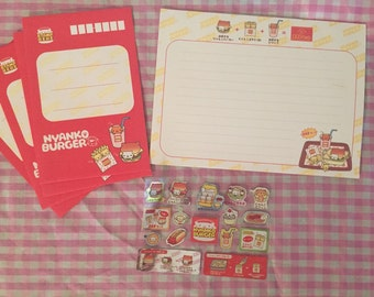 RARE Nyan Nyanko Kawaii Burger Letter Set & Stickers San-X