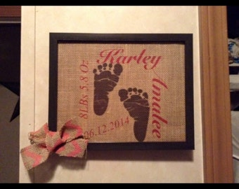Personalized Burlap Pictures