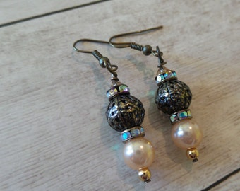 Antiqued Brass Earrings with Filigree AB Accent and Pearl beads