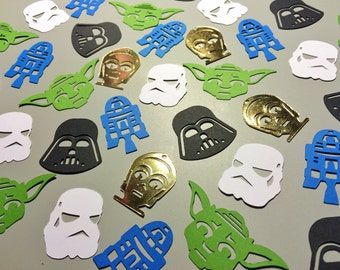 Star Wars Confetti, Table Scatter, Sci-Fi Party, Geekery Wedding Decoration, Darth Vader, Yoda, Stormtrooper, R2D2, C3PO, Set of 100 pieces!