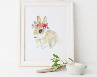 Bunny Watercolor Print | Rabbit Watercolor Painting | Children's Room Animal Nursery Decor | Bunny with Floral Crown | Gift for Girls