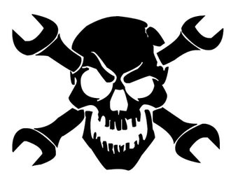 Skull with Wrenches Vinyl Decal