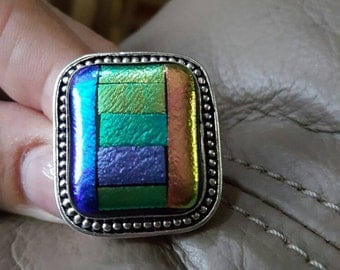 Dichroic Fused Glass Ring - size 8.75!