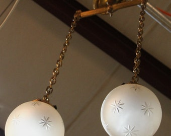 Vintage Brass 'Swag' Hanging Light with Etched Twin Pendant Glass Globes