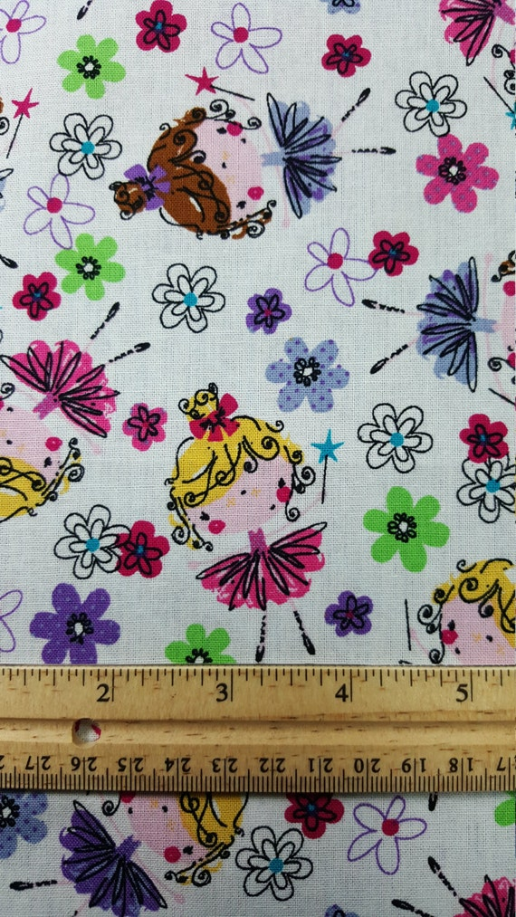 Cute ballerina fabric fat quarter only fq nursery print for Nursery print fabric