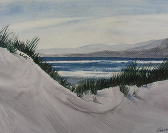 "Original watercolor ""Dillon Beach Dunes"" 21.5"" x 14"", not a print. Features dunes, ocean, headland, waves, surf, dune grass"