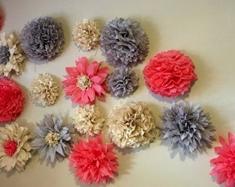 Tissue paper flowers, party decor, table backdrop, tissue paper sunflower