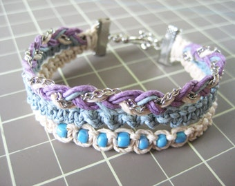 Multistrand Hemp Bracelet - Purple, Blue and White - with Silver Clasp