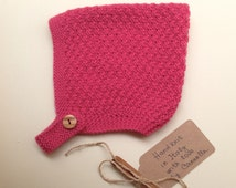 Baby kid 100% cashmere Pixie Bonnet  hat  color pink,  hand knit size from 3 months to 4 years