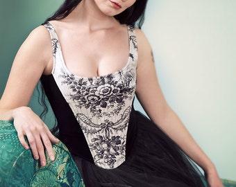 Velvet Fully Boned Liberty Bodice, Black & White Toile Print.