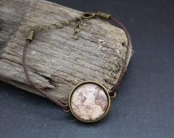 "Cabochon bracelet ""retro world map"" 20 mm"