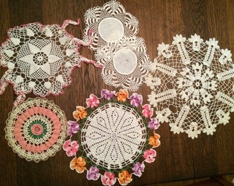 Lot of 6 Lace Doilies