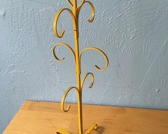 Vintage Yellow Cup Tree Stand Coffee Mug Display Organizer Metal