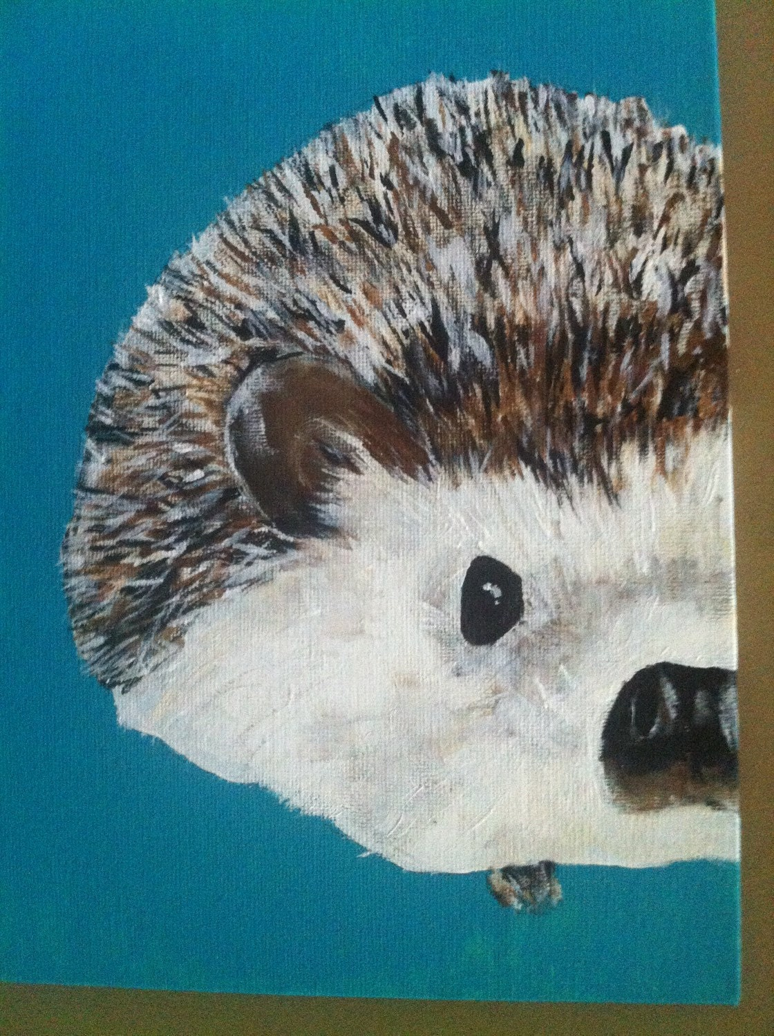 Canvas Painting Of Hedgehogs Acrylic