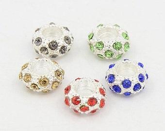 10 Pcs. Euro Style Rhinestone Spacer Beads Random Mixed Colors (B110j)
