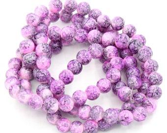 1 Strand 10mm Glass Drawbench Beads-Pink/Gray (B40b)
