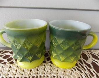 Set of 2 Anchor Hocking Fire King Green Diamond Kimberly Coffee Tea Cups Mugs