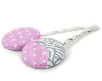 2 Fabric Buttons, Bobby Pins, Minimal, Medium, Pink, Gold, Silver
