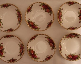 Six Royal Albert Old Country Roses Bowls/ Set of 6 Dessert Bowls / Fruit bowls / Cereal Bowls First Quality 1962-1970