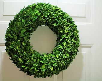 Boxwood Wreath , Natural Dried Boxwood Wreath ,Year round Wreath ,Round Boxwood,  Spring Wreath, Summer Wreath