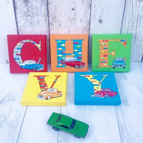 Car Nursery Wall Decor : Car letter wall art nursery baby name