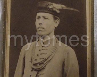 carte de visite. c. 1900. Man with wonderful hat.
