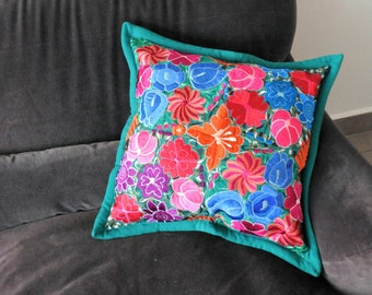 Embroidered pillow cover Teal