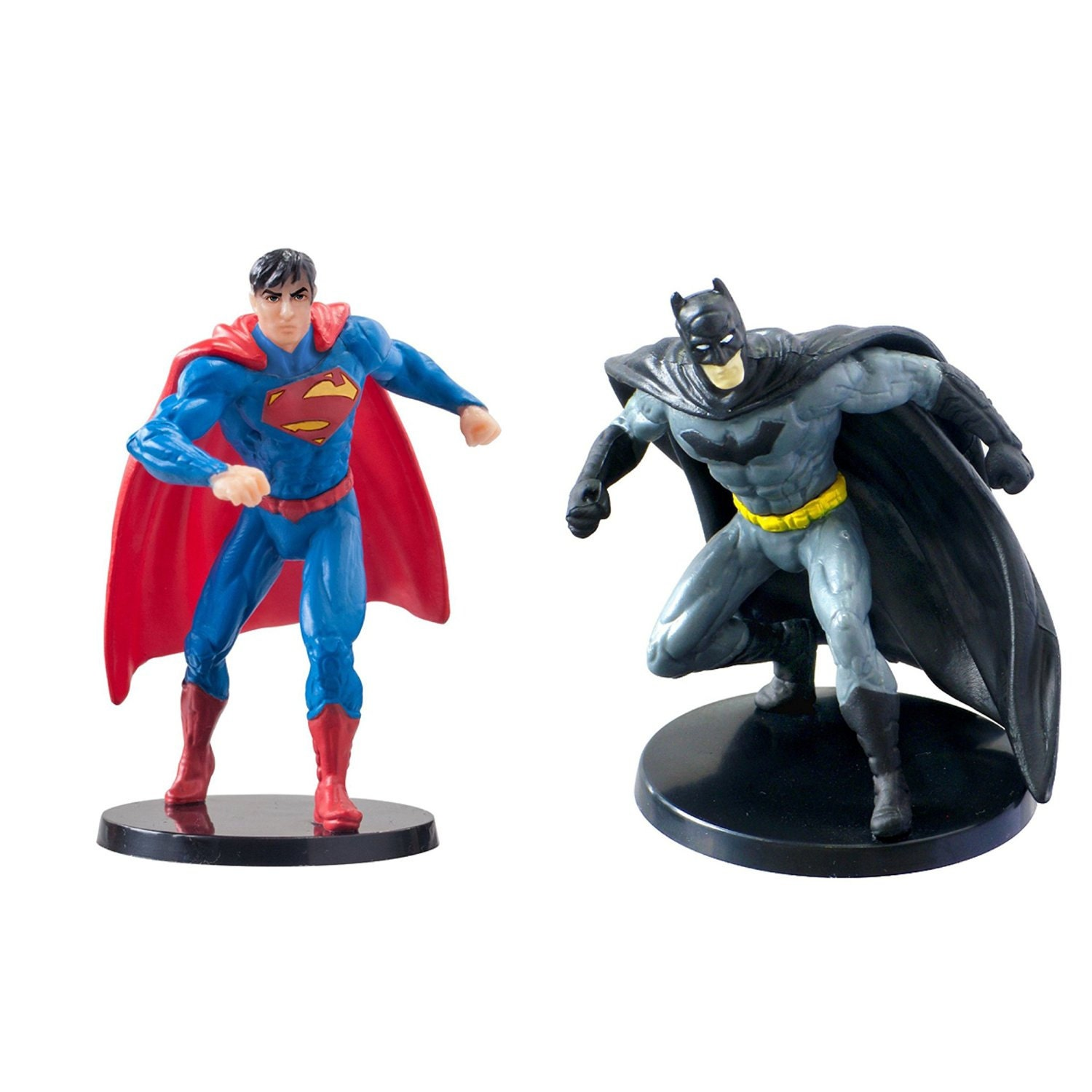 Set of 2 Cake Toppers Superman and Batman Birthday Figure
