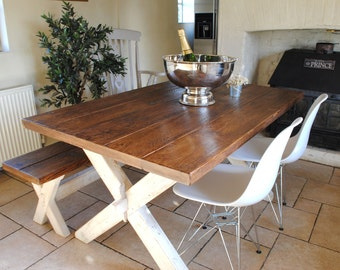 Reclaimed Wood Rustic X Frame Dining Table