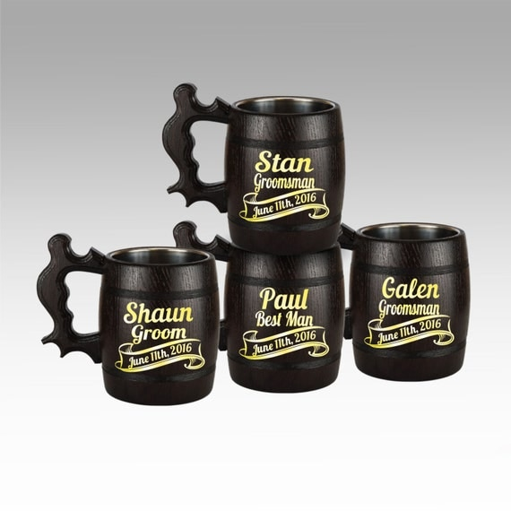 Personalized Beer Mugs Wedding Gift : Beer Mug, Wooden Mug, Personalized Groomsmen Gift, Wedding Gift ...