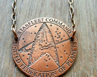 Custom Copper Trekkie Necklace - Trekkie for Her - Geekery - Geek Gift