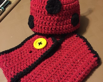 Ladybug hat and diaper cover set