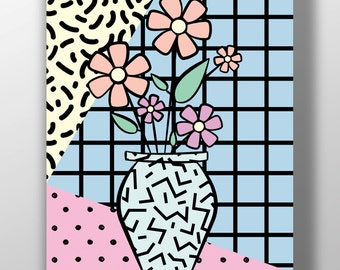 Floral vase print, Flowers, Pop Art print, Pastel, Abstract geometric, Modern home decor, Abstract geometric, Wall art, Giclee print, Poster