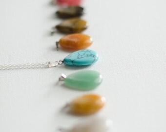 Simple Natural Rock Teardrop Necklace