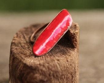 Red Modern Enamel ring worn sideways across the fingers   Size Q Aus    8 1/4 USA