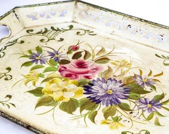 Last Chance SALE, Rustic Toleware Serving Tray, Vintage Decorative Tole Tray