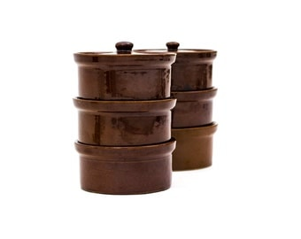 English Stoneware Crocks, Casseroles, Pearsons of Chesterfield, 1810 Crocks, Made in England, Set of 6