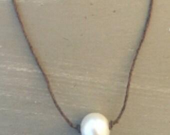 Pearl Choker, Choker necklace with single pearl, Boho Choker, Pearl Necklace