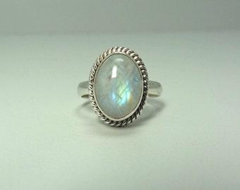 Rainbow moonstone silver ring moonstone ring, moon stone ring, handmade ring size 5,6,7,8,9,10,11,12