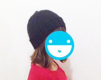 Black wool stocking cap hand made