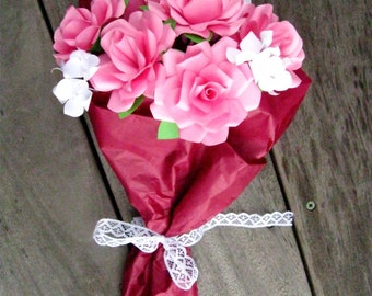 Pink Rose Paper Flower Bouquet