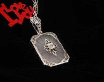 Art Deco Style Sterling Silver Filigree Starburst Camphor Glass and Diamond Necklace