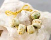 Hints of green and yellow glazed porcelain bead set-Ronnie's beads
