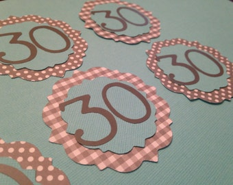 "Gray, White,  Aqua ""Retro"" 30th Birthday Cupcake toppers"