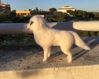 needle felted white wolf, felted animal, waldorf animal, wool doll, wool wolf, wool husky, felted husky, wolf sculpture, wolf ornament