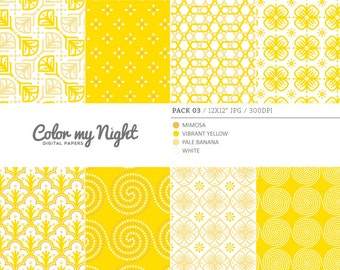 Digital Paper Yellow 'Pack03' Scrapbook Paper Pack Digital Backgrounds for Scrapbooking, Invites, Crafts...