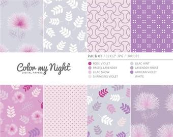 80% OFF SALE Digital Paper Violet 'Pack05' Floral & Geometrical Digital Backgrounds for Invitations, Scrapbooking, Decoupage, Crafts...