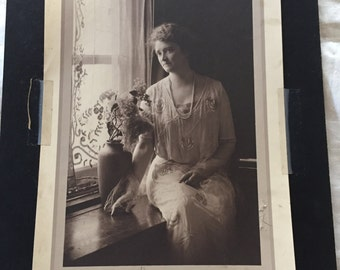 Arts and Crafts Period 1920's Photo of a Woman Gazing Out a Window.  Beautiful!